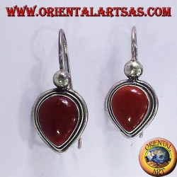 earring with carnelian drop, silver