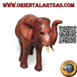 Escultura de elefante africano caminando con trompa hacia arriba, en madera de suar (12 cm)