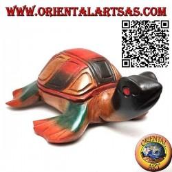 Tartaruga di mare caretta in legno di teak dipinta a mano (20 cm)