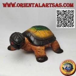 Land tortoise or Hermann tortoise in hand painted teak wood 19 cm