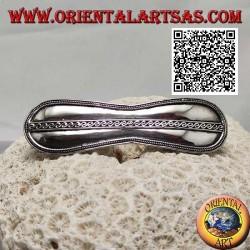 Fermacapelli in argento infinito liscio con intreccio laterale e linea a S centrale (clip in metallo)