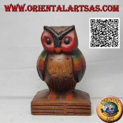 Sculpture of an owl (symbol of wisdom) on a 16 cm hand painted teak wood book