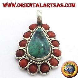 pendentif en argent avec turquoise naturel et chute corail