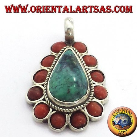 Silver Pendant with Natural Turquoise teardrop, and coral