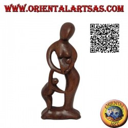 20 cm sculpture of a mother with a child in her hand and a newborn on her lap in suar wood