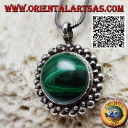 Silver pendant with natural round malachite cabochon surrounded by a double row of balls