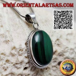 Silver pendant with large natural oval cabochon malachite surrounded by weaving