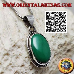 Silver pendant with natural oval malachite on smooth setting with trio of balls on the four cardinal points