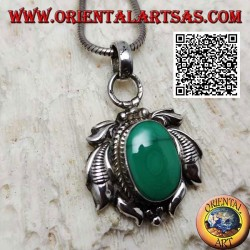 Silver pendant with natural oval malachite surrounded by engraved leaves