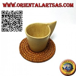 Round coaster in rolled rattan 10 cm