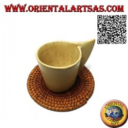 Round coaster in rolled wicker and center in 10 cm teak wood (clear)