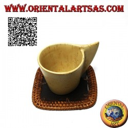 Square wicker coaster and 10cm teak wood center (dark)