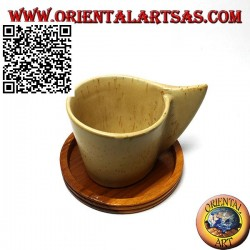 Sottobicchiere tondo in legno di teak con bordo rialzato da 9 cm