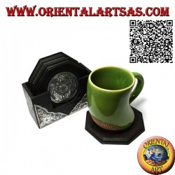 Set of 6 octagonal coasters with container in mahogany wood and inserts in silver with floral decorations (black)
