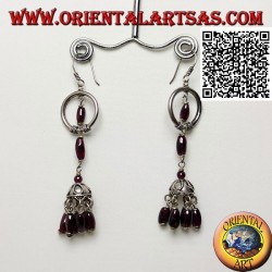 Silver hoop pendant earrings with umbrella underneath with hanging oval natural garnets