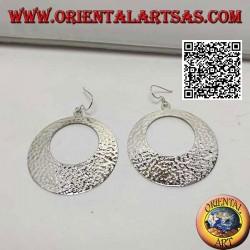 Hammered silver hoop pendant earrings with circular opening
