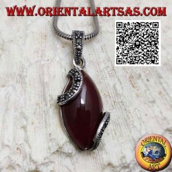 Silver pendant with cabochon shuttle carnelian and two marcasite semicircles