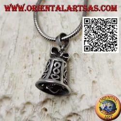Silberanhänger mit durchbrochener spielbarer Glocke mit Unendlichkeit und Herz
