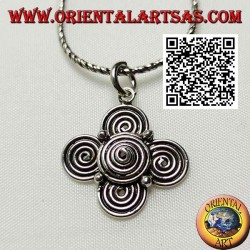 Silver pendant in the shape of a tetrasquele of spirals