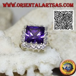 Silver ring with faceted square synthetic amethyst set surrounded by white zircons