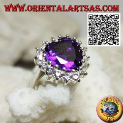 Silver ring with faceted heart synthetic amethyst set surrounded by white zircons