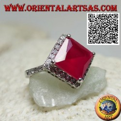 Silver ring with square rhomboid faceted synthetic ruby surrounded by white zircons