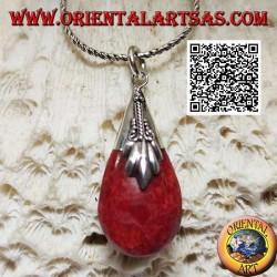 Ciondolo in argento a goccia tridimensionale di madrepora di corallo (rossa) e gancio decorato