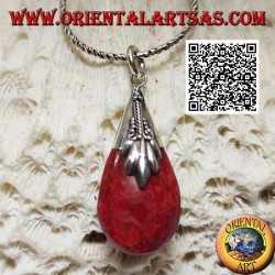 Silver pendant with three-dimensional drop of coral coral (red) and decorated hook