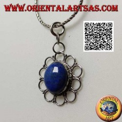 Silver pendant with natural oval lapis lazuli surrounded by perforated circles