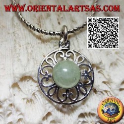 Silver pendant with round cabochon jade on disc with perforated decoration