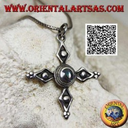 Antique Cerdanya cross silver pendant with central paua shell (abalone)