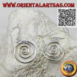 Silver pendant earrings with smooth celtic spiral