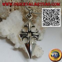 Ciondolo in argento croce di Santiago de Compostela con foro centrale
