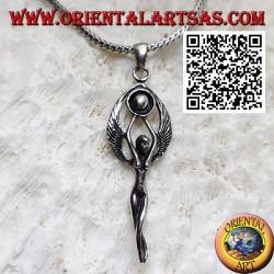 Ciondolo in argento, dea celtica delle fate e del sole