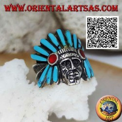 Silver ring, head of an American Indian with a low headdress of turquoise and carnelian feathers