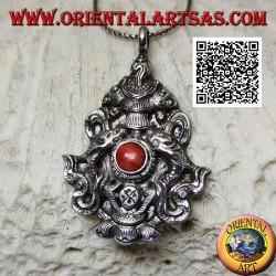 """Pendentif Aṣṭamaṃgala en argent """"Les huit symboles de bon augure"""" avec corail (grand)"""
