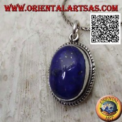 Silver pendant with natural oval lapis lazuli surrounded by weaving