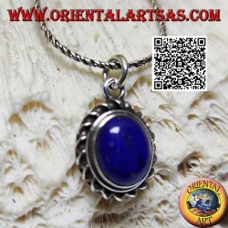 Silver pendant with natural oval lapis lazuli surrounded by a helical cord