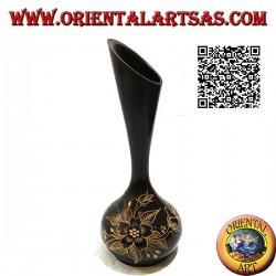 Vase à fleur haute ampoule à décor floral gravé à la main en bois d'acajou 30 cm