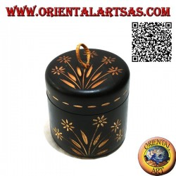 Cylindrical jar box with hand-carved floral decorations in mahogany wood