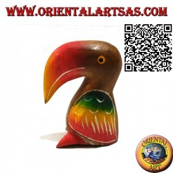 Sculpture of a toco toucan painted by hand, in 11 cm teak wood