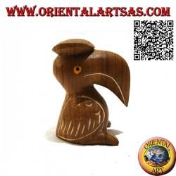 """Skulptur eines Toco-Tukans mit handbemaltem """"Absolventen"""" -Hut aus 12 cm Teakholz"""