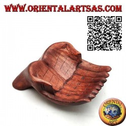 Pocket tray in the shape of joined hands in suar wood (small)
