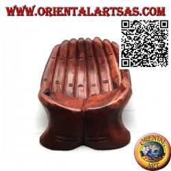 Svuotatasche a forma di mani unite in legno di suar (medio)