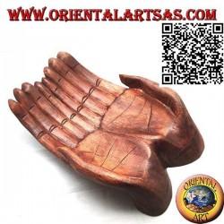 Svuotatasche a forma di mani unite in legno di suar (grande)