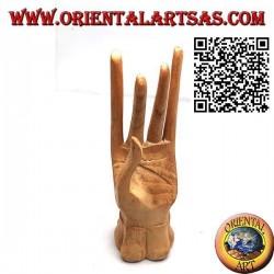 """Skulpturenausstellung für Schmuck """"stehende Hand"""" aus Kiefernholz 19 cm"""