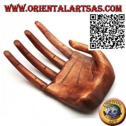 """Présentoir de sculpture pour bijoux """"main ouverte"""" en bois de suar 21 cm"""