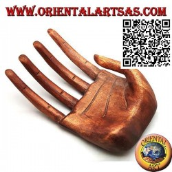 """Sculpture display for jewelry """"open hand"""" in suar wood 21 cm"""
