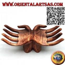 """Scultura espositore per gioielli """"coppia di mani aperte"""" in legno di suar"""