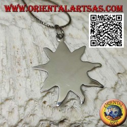 Smooth silver pendant, sun shaped medal